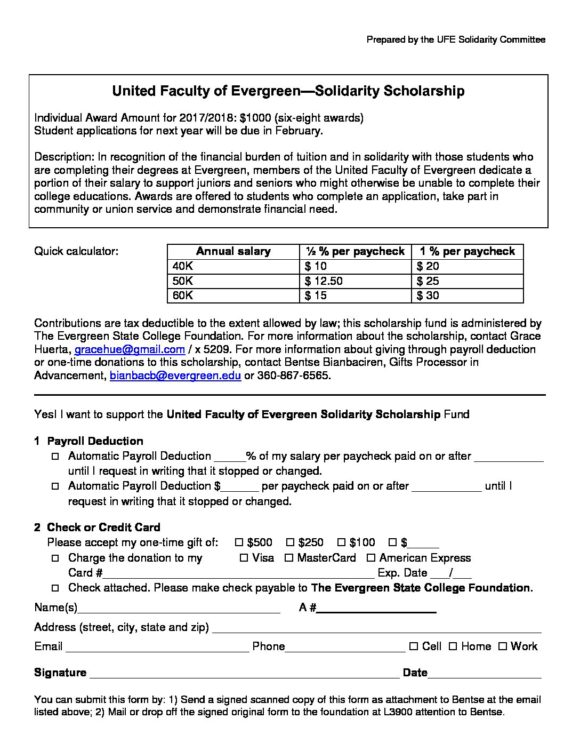Ufe Scholarship Deduction Form | The United Faculty Of Evergreen