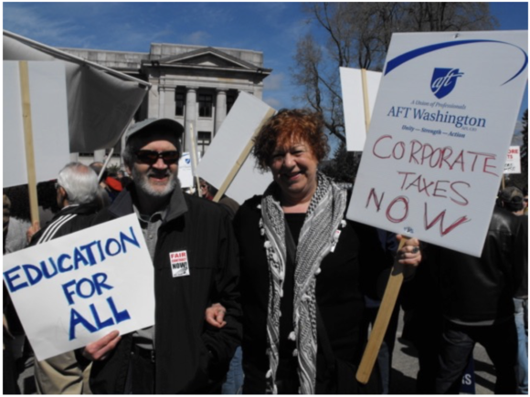 Bob Woods and Marianne Hoepli at the rally