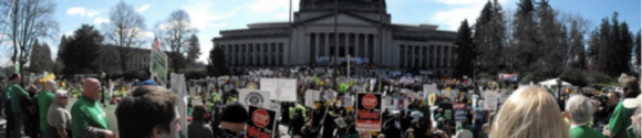 7,000-12,000 union members gather on the steps of the Capitol building in Olympia, April 8, 2011
